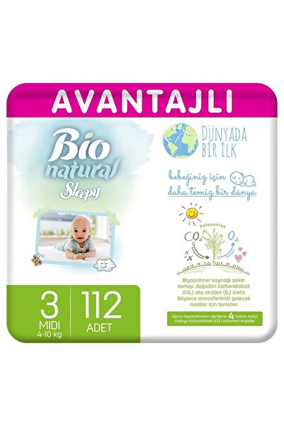 Sleepy Bio Natural Avantajlı Bebek Bezi 3 Numara Midi 112 Adet