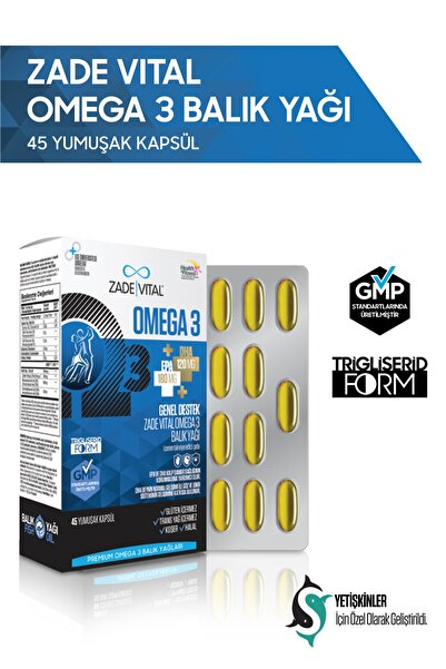 Zade Vital Premium Omega 3 Balık Yağı Genel Destek 45 Kapsül
