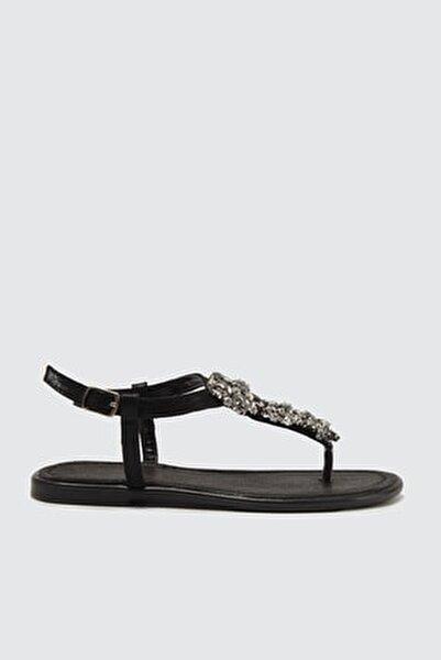 Siyah Taşlı Kadın Sandalet TAKSS21SD0005