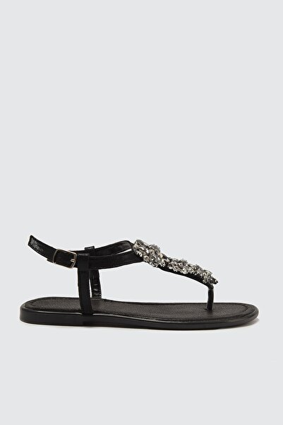 TRENDYOLMİLLA Siyah Taşlı Kadın Sandalet TAKSS21SD0005