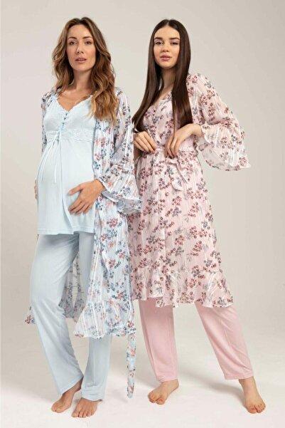 Bone Pijama Kadın Bone Lohusa 3'lü Pijama Takım