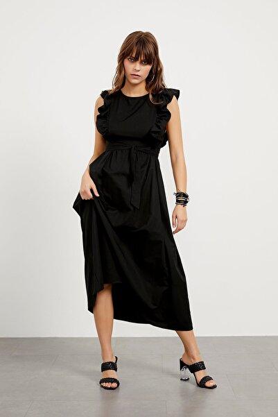 Arma Life Kadın Siyah Fırfır Detaylı Bel Bağlamalı Jile Elbise