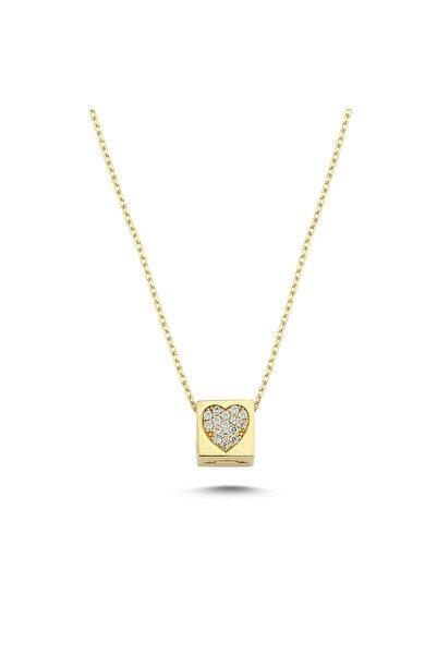 Siena Kadın Sarı Kalp Desenli Küp Kolye 14 Ayar