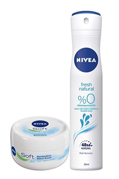 Nivea Soft 200 ml + Fresh Kadın Sprey Deodorant 200 ml