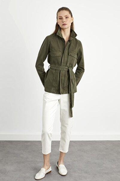 adL Kadın Haki  Beli Kuşaklı Cepli Jean Ceket