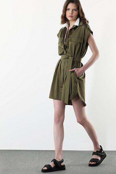 Network Kadın Regular Fit Haki Garnili Mini Elbise 1078955