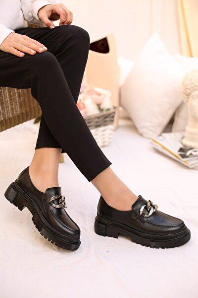 SABELİN SHOES Kadın Siyah Zincirli Kalın Kabanlı Loafer Ayakkabı