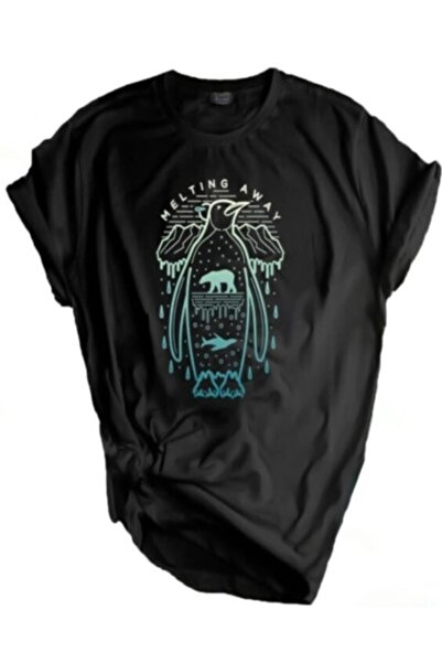 GENIUS Unisex Siyah Store Outdoor Baskılı T-shirt