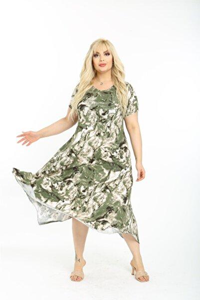 Mezura Kadın Yeşil Yazlık Kısa Kol Diz Altı Asimetrik Penye Viskon Elbise