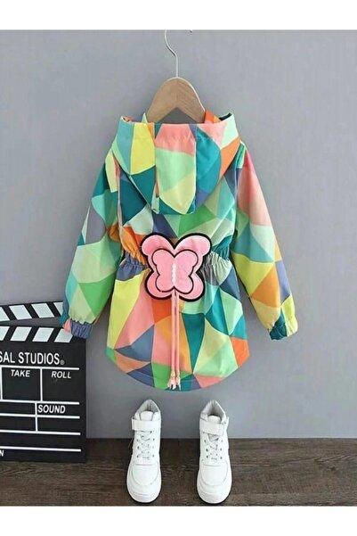 pijama moda Kız Çocuk Yeşil Kelebek Desenli Kapşonlu Yağmurluk.