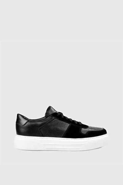 Male Industry Siyah Erkek Deri Sneaker