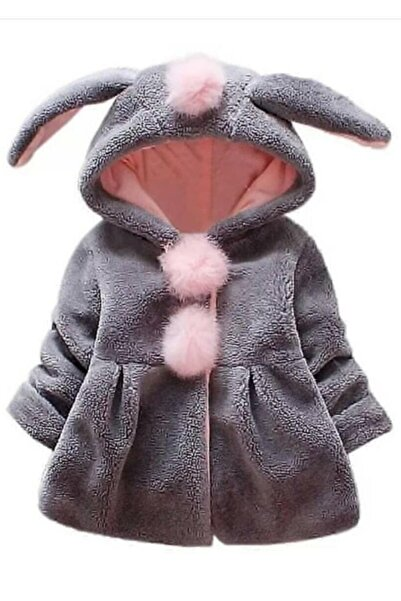 Riccotarz Kız Çocuk Tavşan Kulaklı Gri Peluş Ceket