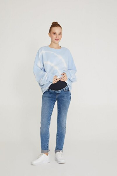 VAVIEN Hamile Jean Likralı Denim Pantolon Slim Fit Mavi 1012