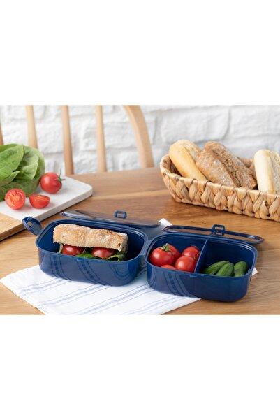 English Home Trendy Plastik 3 Bölmeli Lunch Box 15x10 Cm Lacivert