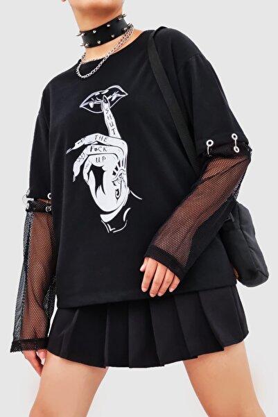 Carpe Siyah Gothic File Kol Sweatshirt