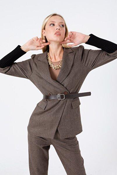 Lafaba Kadın Kahverengi Kemerli Kolları Triko Ceket