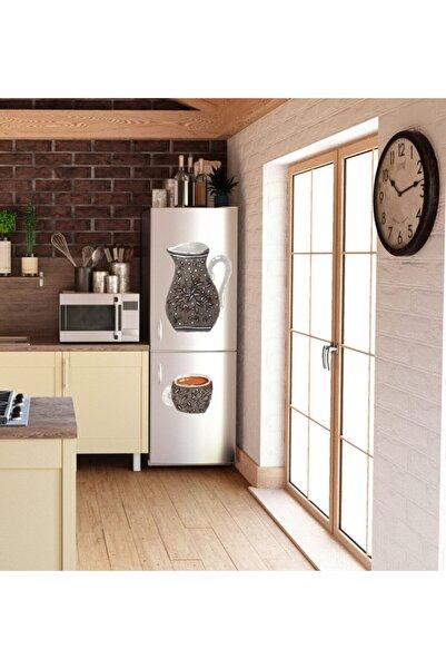 MimOzalit Sürahi Ve Fincan Ikilisi Büyük Boy Buzdolabı Magneti 40x55 cm Ve 30x24 cm