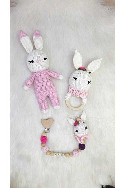 ON MARİFET Beyaz Tavşan Organik Örgü Oyuncak Amigurumi 3lü