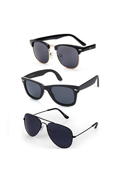 ModaLand Siyah Unisex Güneş Gözlüğü Üçlü Set