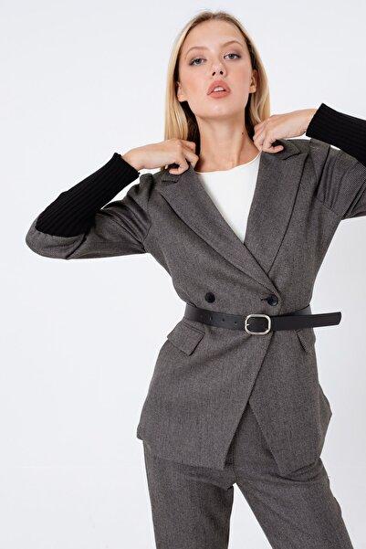 Lafaba Kadın Siyah Kemerli Kolları Triko Ceket