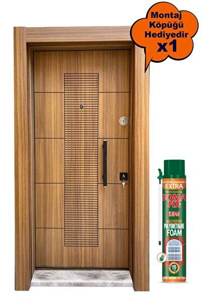 Tezdoor Çelik Kapı, Ahşap Kaplama Rustik Çizgili Düz Model Daire Kapısı, Tırnaklı Sistem Çelik Kapı