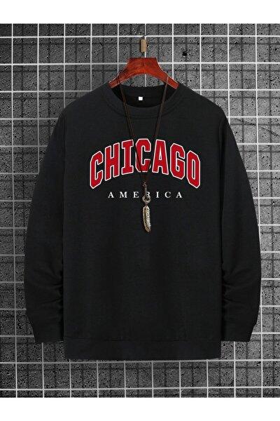 K&H TWENTY-ONE Erkek Siyah Chicago Baskılı Oversize Sweatshirt