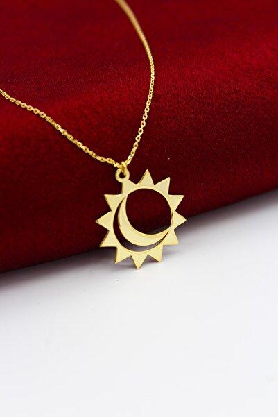 Silver And Silver Kadın 925 Ayar Gümüş Sarı Güneş Ay Kolye