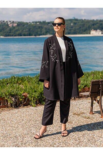 ALİA Kadın Siyah Büyük Beden Ceket ve Pantolon İkili Abiye Takım