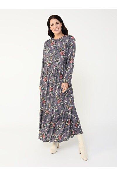 ALİA Büyük Beden Doğal Kumaşlı Çiçek Desenli Elbise - Lila -