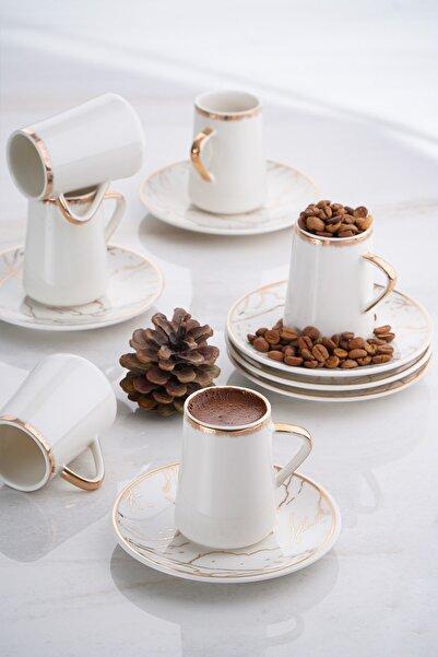 ACAR Mina 6'lı Porselen Mermer Desen Kahve Fincan Takımı