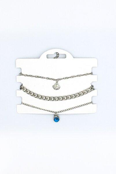 Artikel Gümüş Rengi Midye Ve Nazar Boncuğu Sallantılı Çoklu Zincir Bileklik Seti