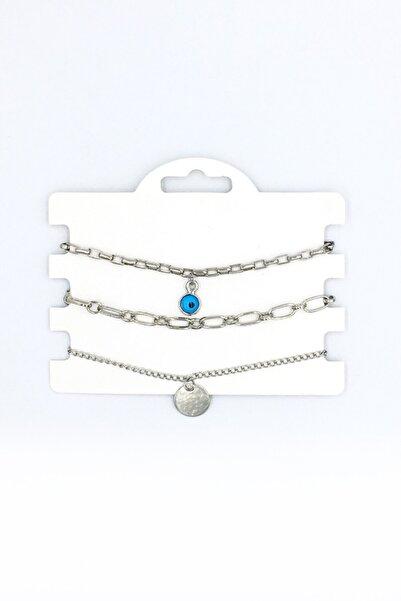 Artikel Gümüş Rengi Nazar Boncuğu Sallantılı Çoklu Zincir Bileklik Seti