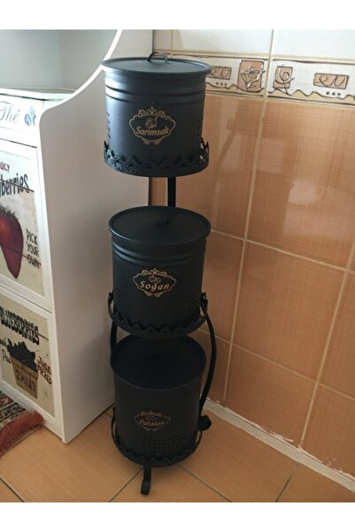 Evistro Metal Standlı 3 Katlı Patates Soğan Sarımsak Saklama Seti Siyah