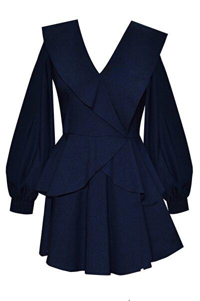 Muun Kadın Lacivert Olivia Volanlı Elbise