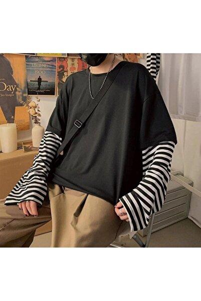 Köstebek Oversize Düz Siyah Kollar Çizgili T-shirt