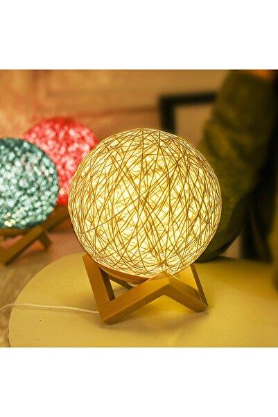 SMARTEST Standlı Ahşap Kumaşlı Usb Girişli Masa Ve Lüx Gece Lambası