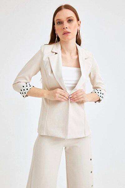 Fulla Moda Kadın Bej Blazer Ceket