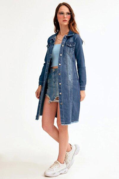 Fulla Moda Yıkamalı Uzun Kot Ceket