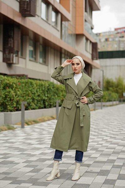 Essah Moda Kadın Haki Çantalı Bağlama Detaylı Trençkot