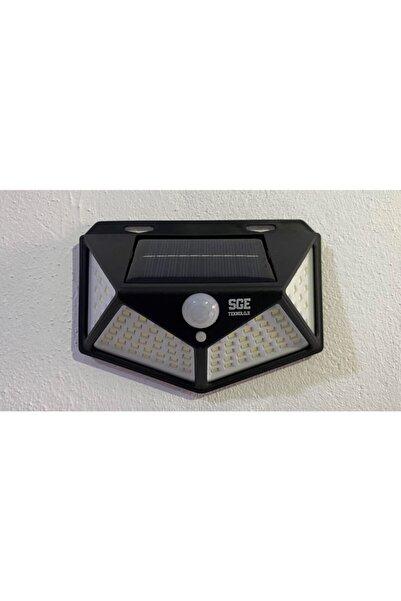 SGE TEKNOLOJİ Siyah Solar Güneş Enerjili Hareket Sensörlü 4 Taraflı Bahçe Garaj Ev Aydınlatma Lambas