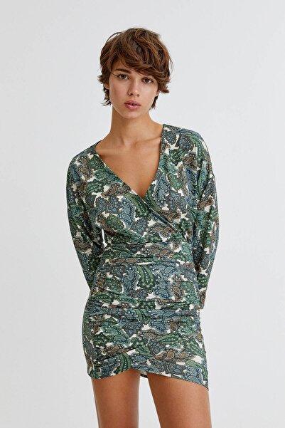 Pull & Bear Kruvaze Yaka Şal Desenli Elbise