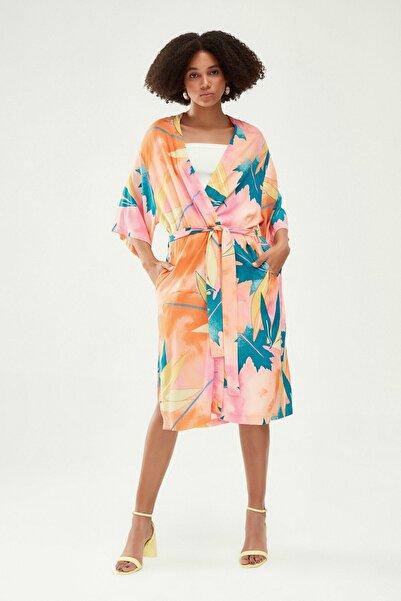 Quzu Desenli Uzun Kimono Turuncu