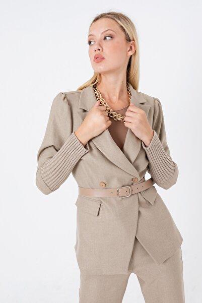Lafaba Kadın Bej Kemerli Kolları Triko Ceket