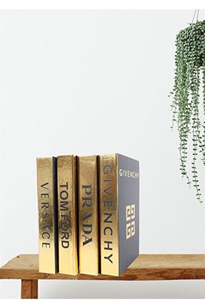 notiyatro Givenchy Versace Prada Ve Tom Ford Siyah Gold Yaldızlı 4lü Dekoratif Kitap Kutusu Set