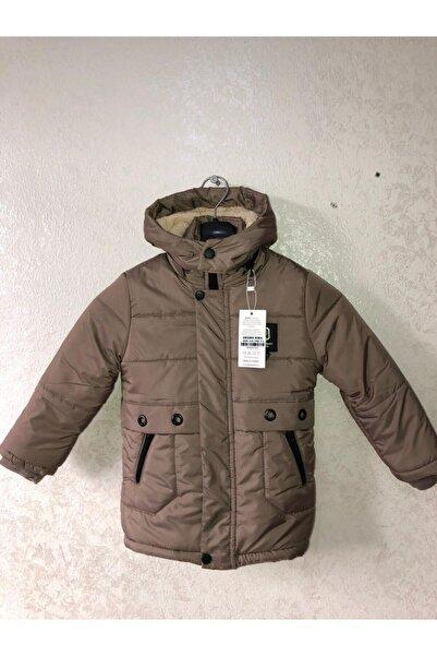 Fumos Fashion Erkek Çocuk Kışlık Şişme Elyaf Dolgulu Içi Polar Basen Diz Arası Kapüşonlu Mont