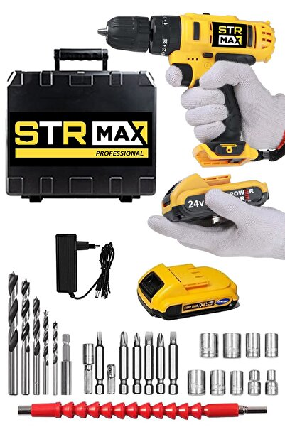 StrMax American 24 V 5 Ah Metal Şanzuman Bakır Sargılı Çift Akülü Şarjlı Vidalama Matkap 27 Parça Set