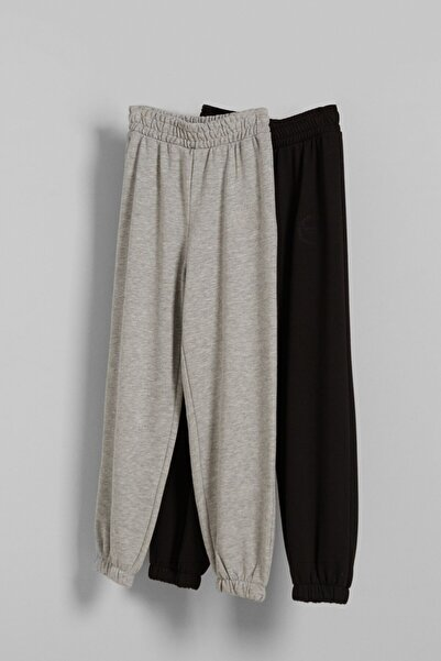 Bershka Kadın Çok Renkli 2'Li Pamuklu Jogger Pantolon Paketi