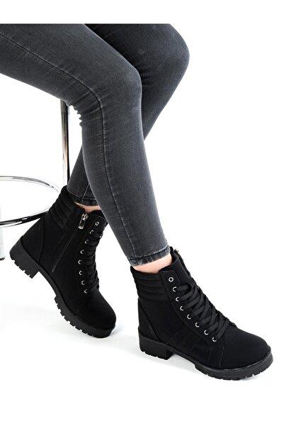 MP 212-2139zn Nubuk Siyah %100 Deri Kışlık Kadın Bot Ayakkabı
