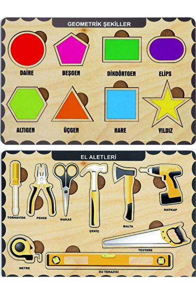 W-Design Ahşap Bul Tak Eğitici 2 Adet Yapboz Puzzle Seti