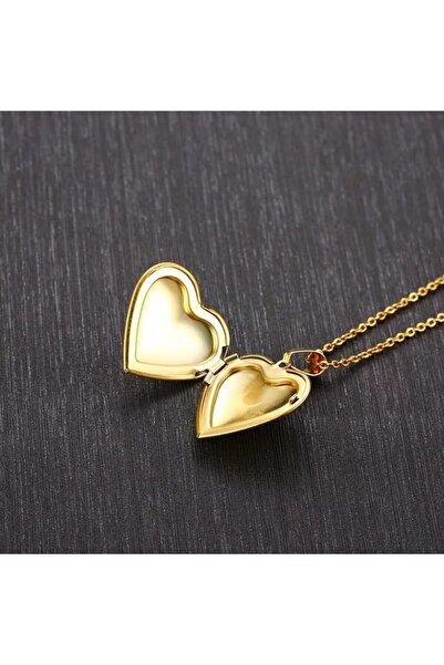 TakıConcept Fotoğraflı Içi Açılır, Kalp Biçimli, Kapaklı Gold Kolye